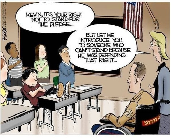 cartoon depicting a failure to take a pledge in front of disabled soldier
